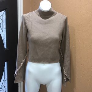 Topshop tan cropped sweater